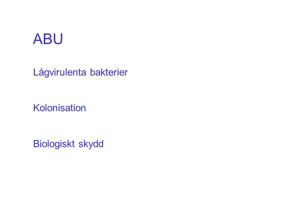 ABU Lågvirulenta bakterier Kolonisation Biologiskt skydd