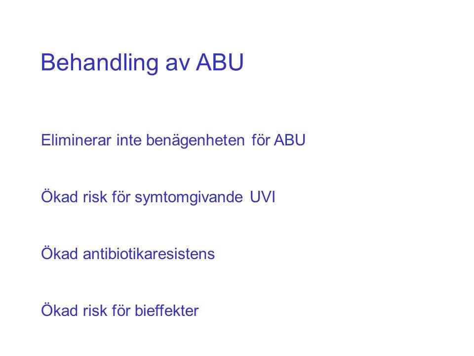 Behandling av ABU Eliminerar inte benägenheten för ABU Ökad risk för symtomgivande UVI Ökad antibiotikaresistens Ökad risk för bieffekter