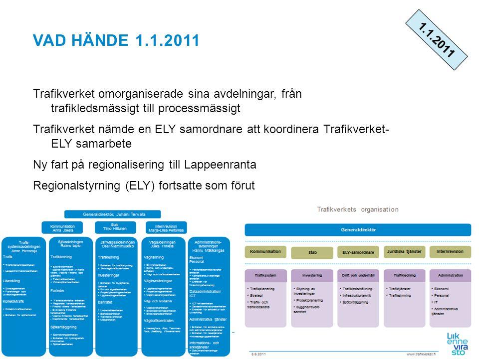 www.fta.fi VAD HÄNDE 1.1.2011 Trafikverket omorganiserade sina avdelningar, från trafikledsmässigt till processmässigt Trafikverket nämde en ELY samor