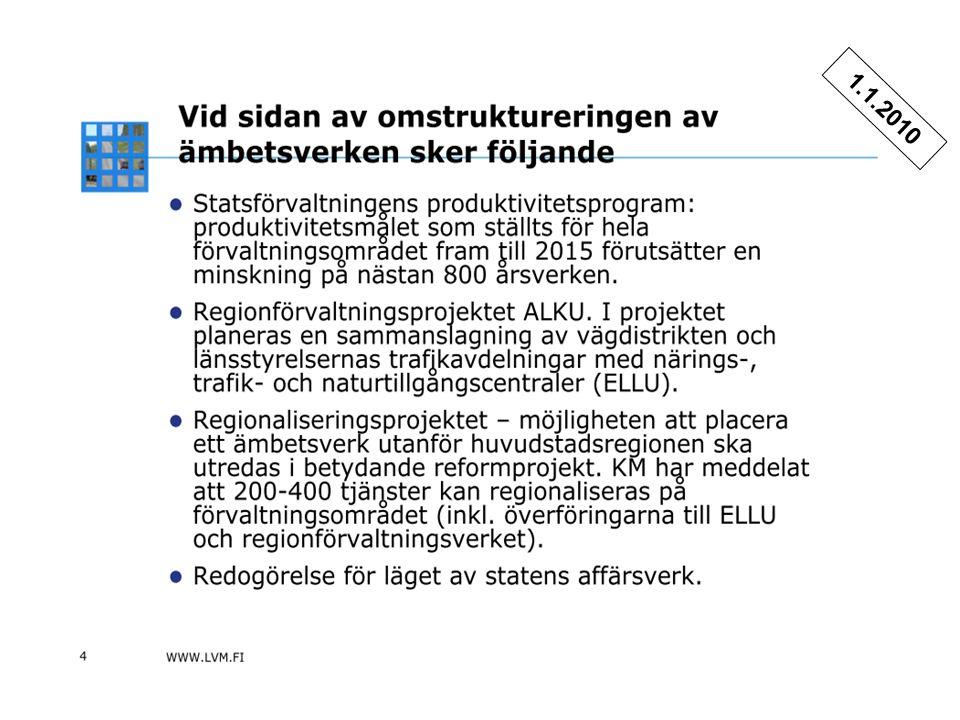 Förvaltningsreform 20105 12.5.2009 / Matti Piispanen Trafikledsverkets organisering 1.1.2010.