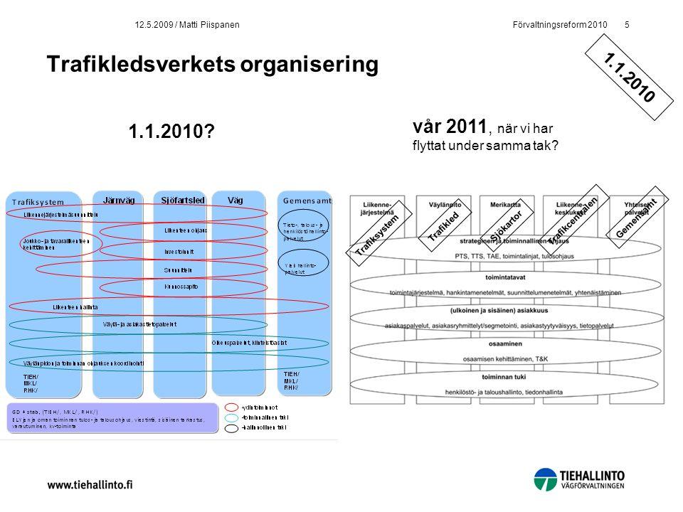 Förvaltningsreform 20105 12.5.2009 / Matti Piispanen Trafikledsverkets organisering 1.1.2010? vår 2011, när vi har flyttat under samma tak? Trafiksyst