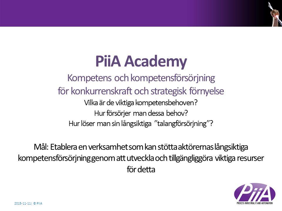 2015-11-11| © PiiA PiiA Academy Kompetens och kompetensförsörjning för konkurrenskraft och strategisk förnyelse Vilka är de viktiga kompetensbehoven?