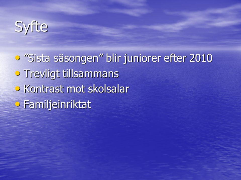 """Syfte """"Sista säsongen"""" blir juniorer efter 2010 """"Sista säsongen"""" blir juniorer efter 2010 Trevligt tillsammans Trevligt tillsammans Kontrast mot skols"""