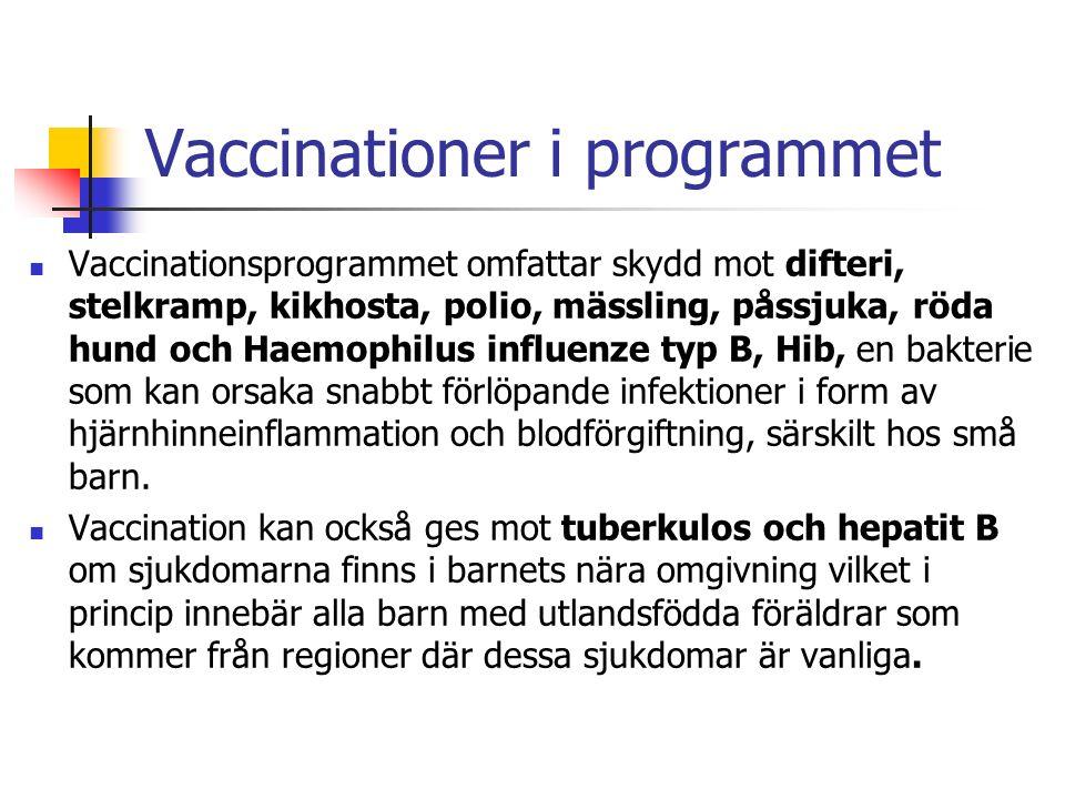 Vaccinationer i programmet Vaccinationsprogrammet omfattar skydd mot difteri, stelkramp, kikhosta, polio, mässling, påssjuka, röda hund och Haemophilus influenze typ B, Hib, en bakterie som kan orsaka snabbt förlöpande infektioner i form av hjärnhinneinflammation och blodförgiftning, särskilt hos små barn.