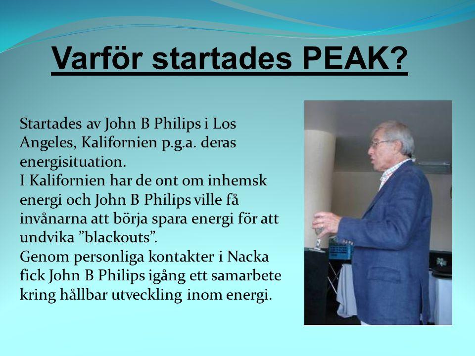 Varför startades PEAK. Startades av John B Philips i Los Angeles, Kalifornien p.g.a.