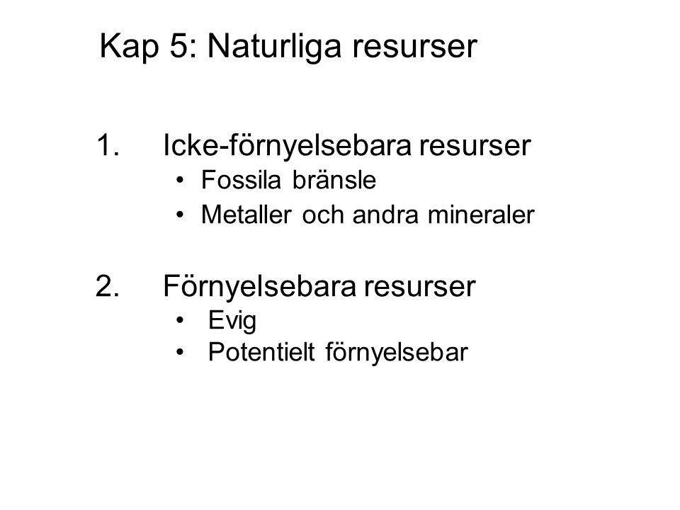 Kap 5: Naturliga resurser 1.Icke-förnyelsebara resurser Fossila bränsle Metaller och andra mineraler 2.Förnyelsebara resurser Evig Potentielt förnyelsebar