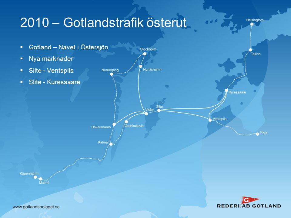 2010 – Gotlandstrafik österut  Gotland – Navet i Östersjön  Nya marknader  Slite - Ventspils  Slite - Kuressaare