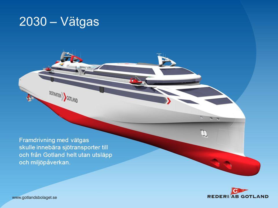 2030 – Vätgas Framdrivning med vätgas skulle innebära sjötransporter till och från Gotland helt utan utsläpp och miljöpåverkan.