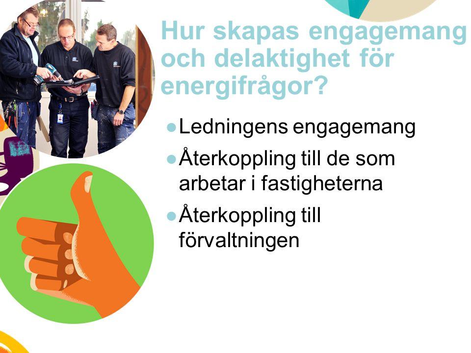 Hur skapas engagemang och delaktighet för energifrågor? ●Ledningens engagemang ●Återkoppling till de som arbetar i fastigheterna ●Återkoppling till fö