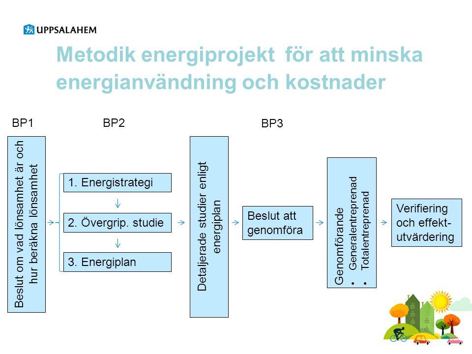 Metodik energiprojekt för att minska energianvändning och kostnader Beslut om vad lönsamhet är och hur beräkna lönsamhet BP1 1. Energistrategi 2. Över