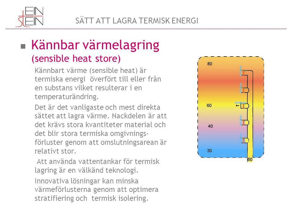 Kännbar värmelagring (sensible heat store) Kännbart värme (sensible heat) är termiska energi överfört till eller från en substans vilket resulterar i