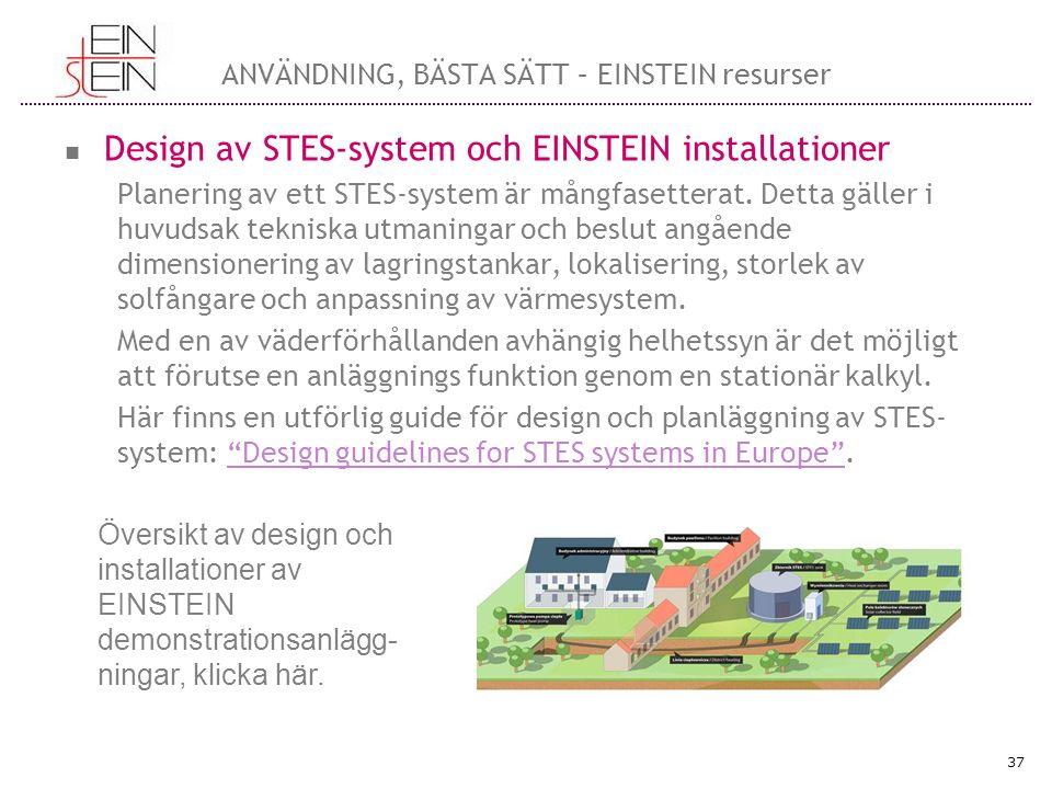 Beslutshjälp EINSTEIN-projektet har utvecklat ett verktyg som kan användas vid preliminär design och ekonomisk utvärdering av säsongslagring av termisk energi i existerande byggnader kallat: Decision Support Tool (DST) Med hjälp av detta verktyg kan man identifiera lämplig teknologi för STES installationer under specifika förhållanden.