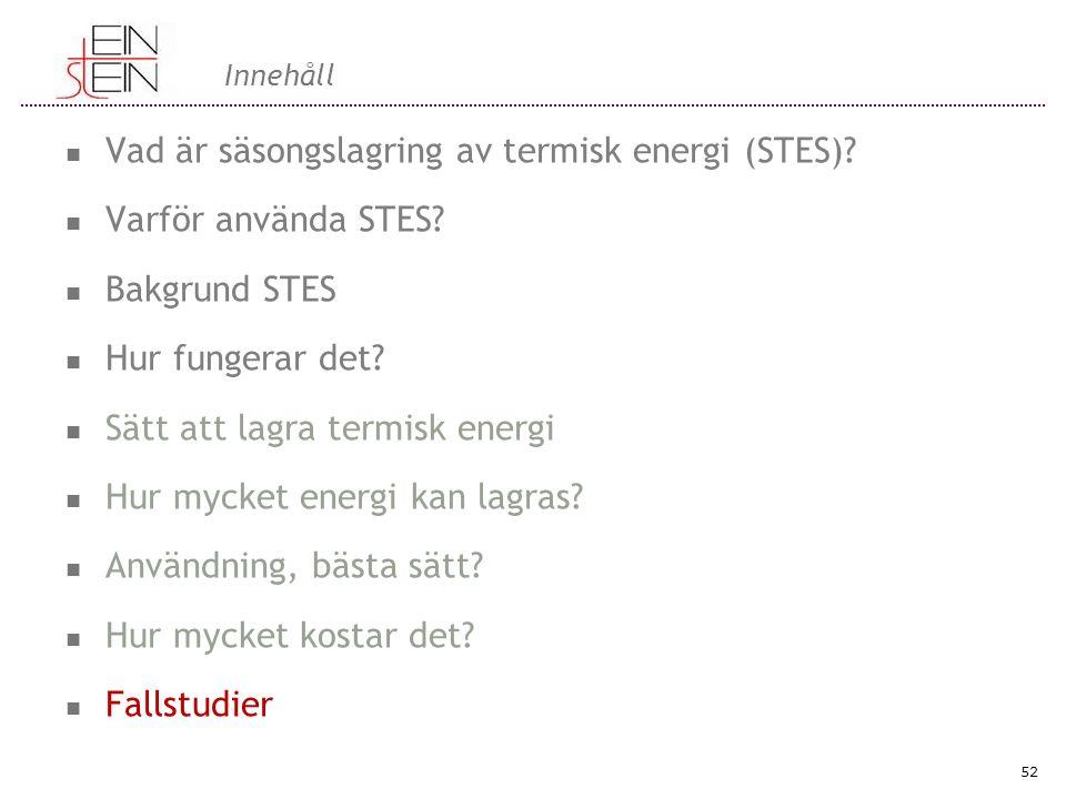 Innehåll Vad är säsongslagring av termisk energi (STES)? Varför använda STES? Bakgrund STES Hur fungerar det? Sätt att lagra termisk energi Hur mycket