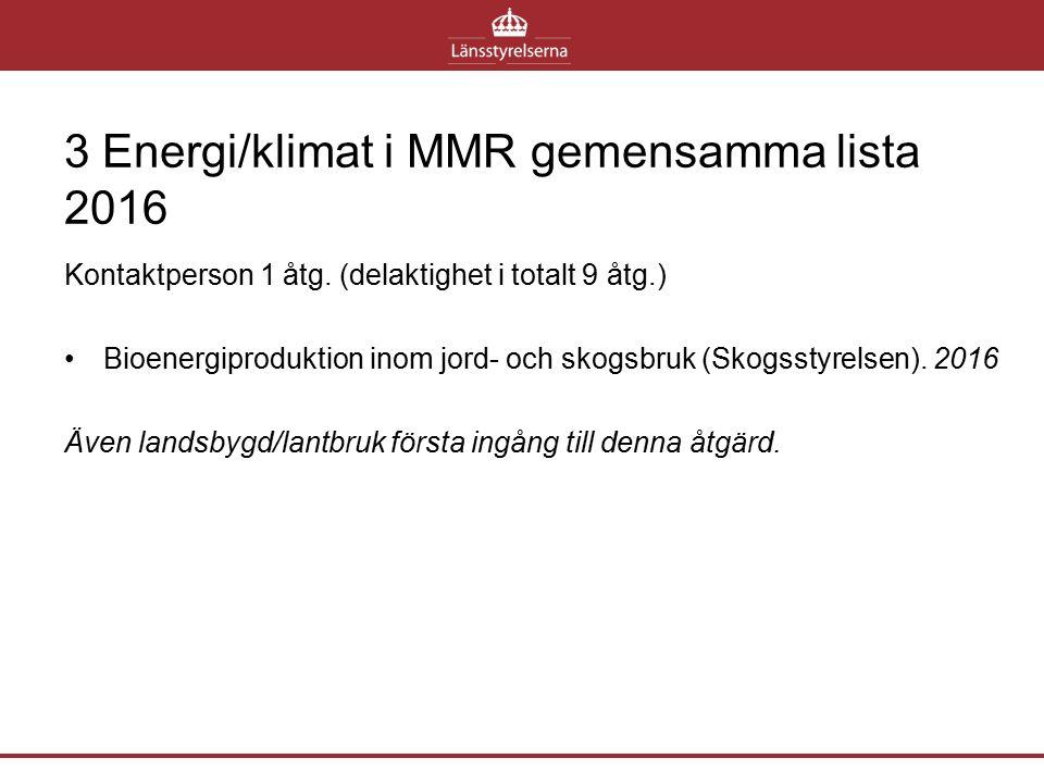 3 Energi/klimat i MMR gemensamma lista 2016 Kontaktperson 1 åtg. (delaktighet i totalt 9 åtg.) Bioenergiproduktion inom jord- och skogsbruk (Skogsstyr