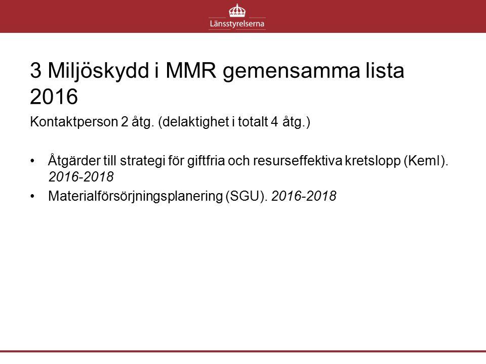 3 Miljöskydd i MMR gemensamma lista 2016 Kontaktperson 2 åtg. (delaktighet i totalt 4 åtg.) Åtgärder till strategi för giftfria och resurseffektiva kr