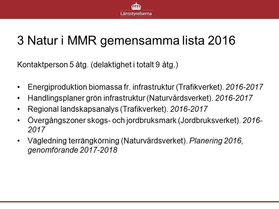 3 Natur i MMR gemensamma lista 2016 Kontaktperson 5 åtg. (delaktighet i totalt 9 åtg.) Energiproduktion biomassa fr. infrastruktur (Trafikverket). 201