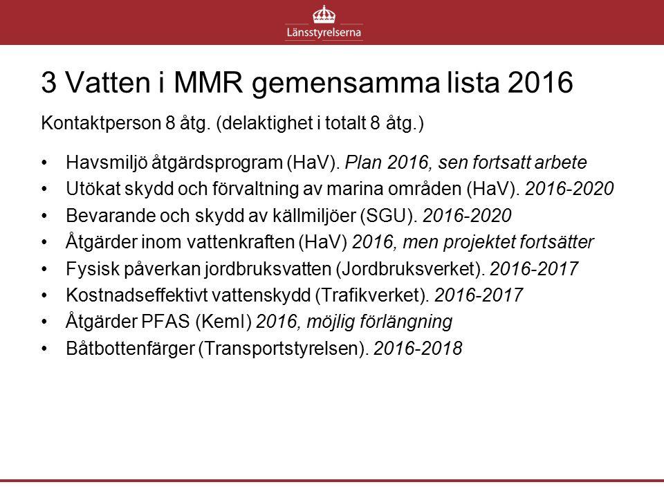 3 Vatten i MMR gemensamma lista 2016 Kontaktperson 8 åtg. (delaktighet i totalt 8 åtg.) Havsmiljö åtgärdsprogram (HaV). Plan 2016, sen fortsatt arbete