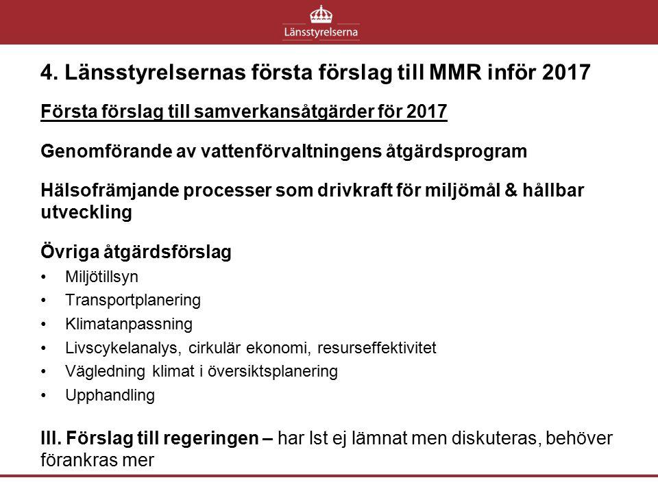4. Länsstyrelsernas första förslag till MMR inför 2017 Första förslag till samverkansåtgärder för 2017 Genomförande av vattenförvaltningens åtgärdspro