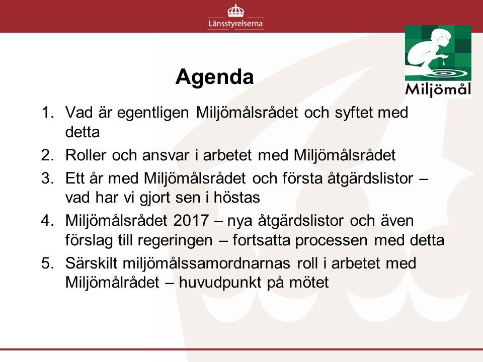 Agenda 1.Vad är egentligen Miljömålsrådet och syftet med detta 2.Roller och ansvar i arbetet med Miljömålsrådet 3.Ett år med Miljömålsrådet och första