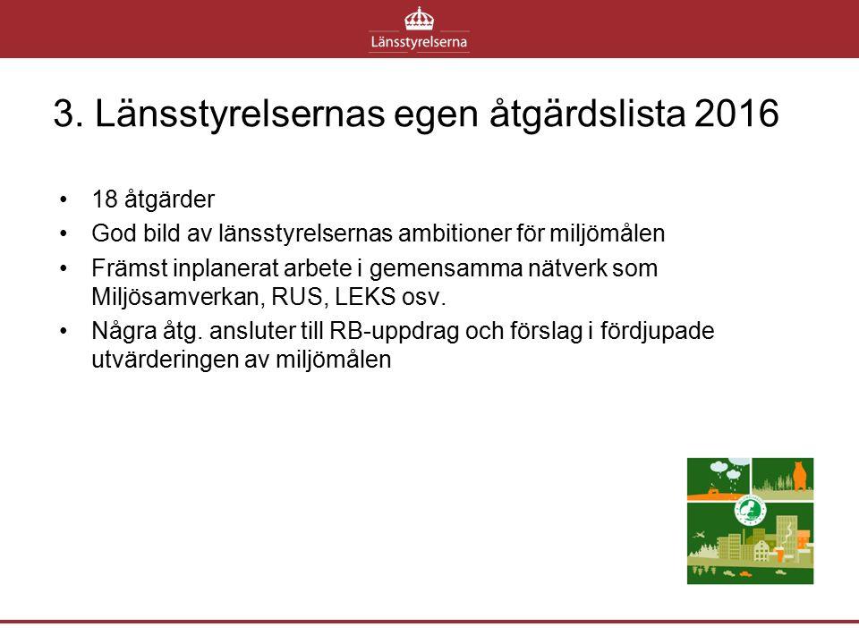 3. Länsstyrelsernas egen åtgärdslista 2016 18 åtgärder God bild av länsstyrelsernas ambitioner för miljömålen Främst inplanerat arbete i gemensamma nä