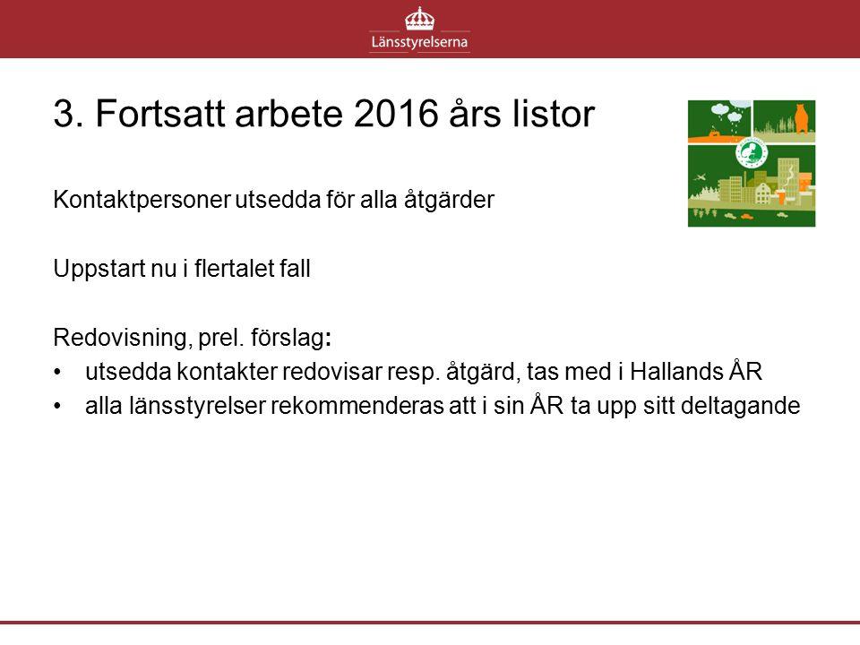 3. Fortsatt arbete 2016 års listor Kontaktpersoner utsedda för alla åtgärder Uppstart nu i flertalet fall Redovisning, prel. förslag: utsedda kontakte
