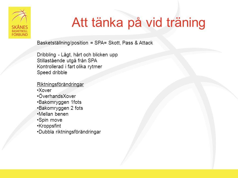 Att tänka på vid träning Basketställning/position = SPA= Skott, Pass & Attack Dribbling - Lågt, hårt och blicken upp Stillastående utgå från SPA Kontr