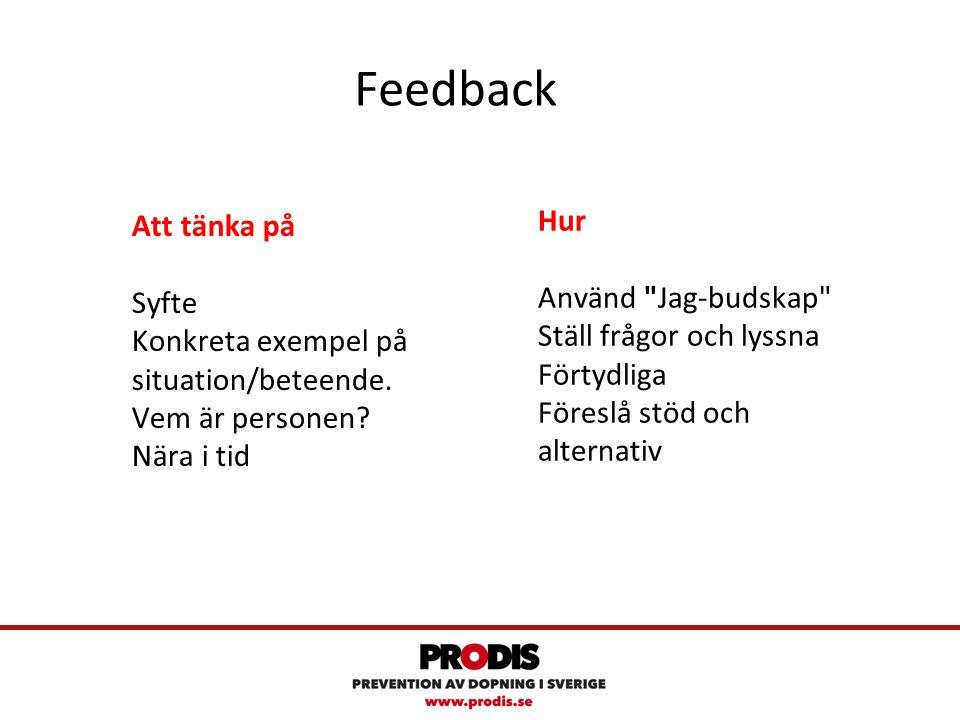 Feedback Att tänka på Syfte Konkreta exempel på situation/beteende.
