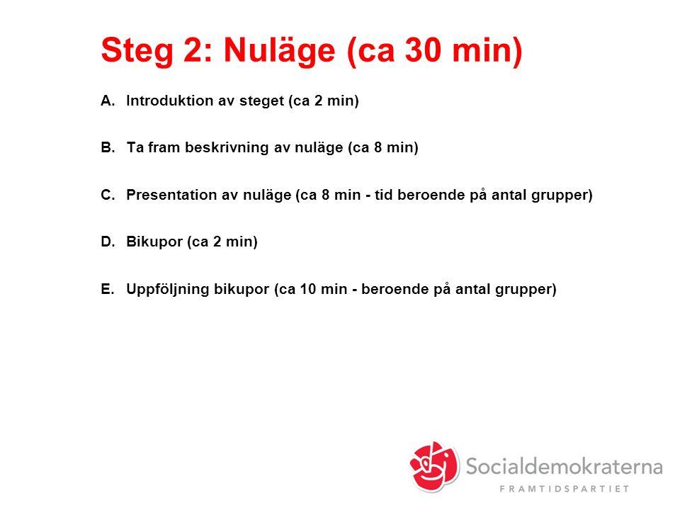 Steg 2: Nuläge (ca 30 min) A.Introduktion av steget (ca 2 min) B.Ta fram beskrivning av nuläge (ca 8 min) C.Presentation av nuläge (ca 8 min - tid beroende på antal grupper) D.Bikupor (ca 2 min) E.Uppföljning bikupor (ca 10 min - beroende på antal grupper)