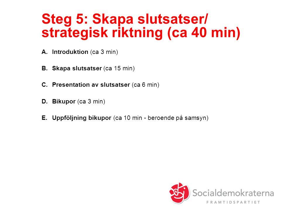 Steg 5: Skapa slutsatser/ strategisk riktning (ca 40 min) A.Introduktion (ca 3 min) B.Skapa slutsatser (ca 15 min) C.Presentation av slutsatser (ca 6 min) D.Bikupor (ca 3 min) E.Uppföljning bikupor (ca 10 min - beroende på samsyn)