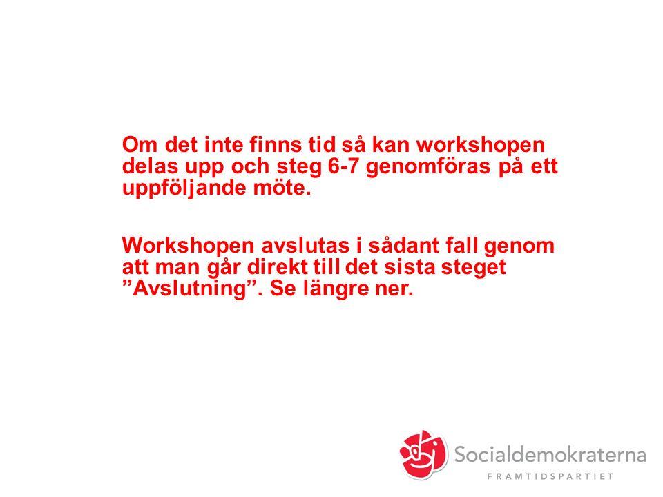 Om det inte finns tid så kan workshopen delas upp och steg 6-7 genomföras på ett uppföljande möte.