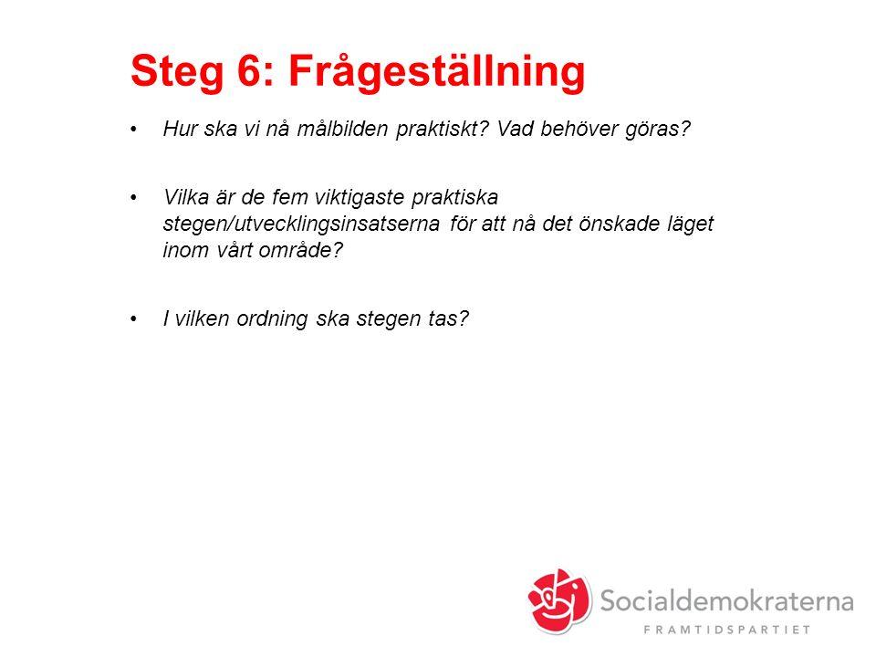 Steg 6: Frågeställning Hur ska vi nå målbilden praktiskt.