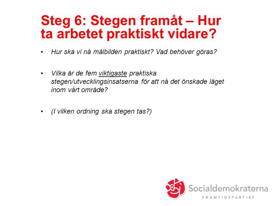 Steg 6: Stegen framåt – Hur ta arbetet praktiskt vidare.