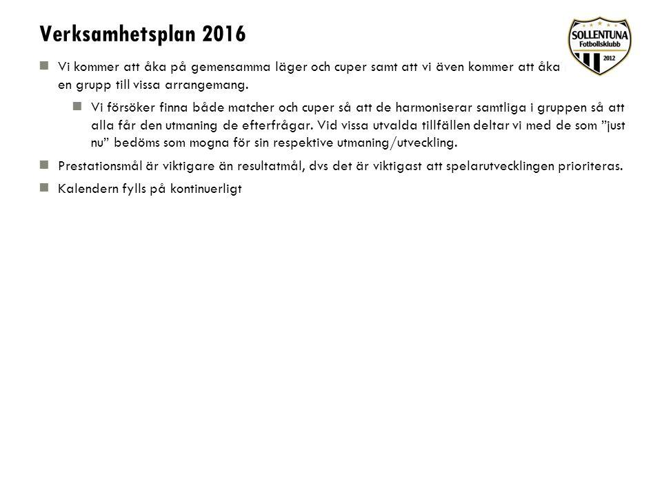 Verksamhetsplan 2016 Vi kommer att åka på gemensamma läger och cuper samt att vi även kommer att åka med bara en grupp till vissa arrangemang. Vi förs
