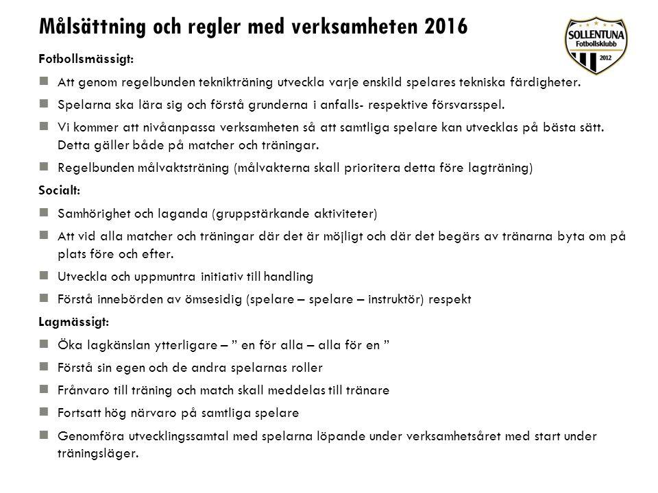 Målsättning och regler med verksamheten 2016 Fotbollsmässigt: Att genom regelbunden teknikträning utveckla varje enskild spelares tekniska färdigheter