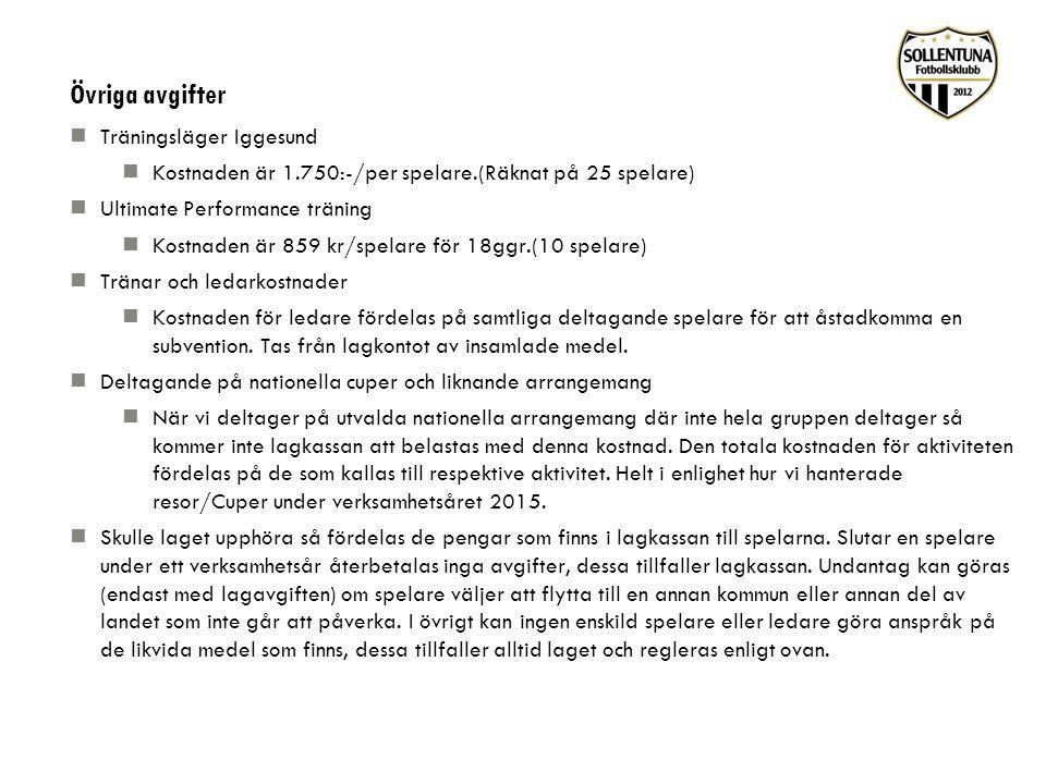 Övriga avgifter Träningsläger Iggesund Kostnaden är 1.750:-/per spelare.(Räknat på 25 spelare) Ultimate Performance träning Kostnaden är 859 kr/spelar