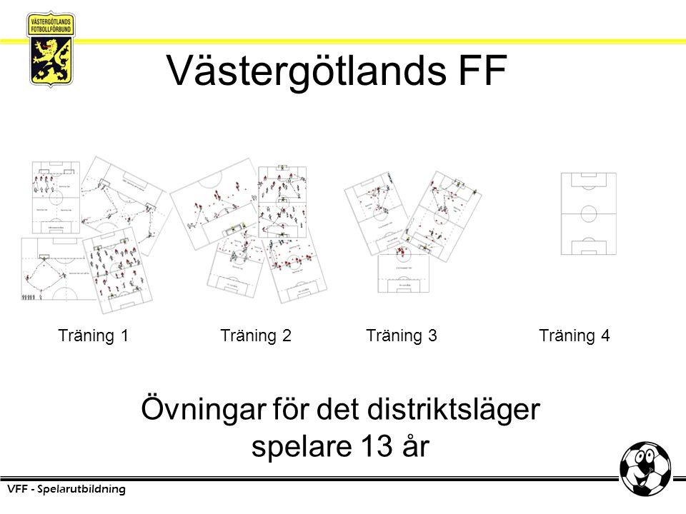Västergötlands FF Övningar för det distriktsläger spelare 13 år VFF - Spelarutbildning Träning 1Träning 2Träning 3Träning 4