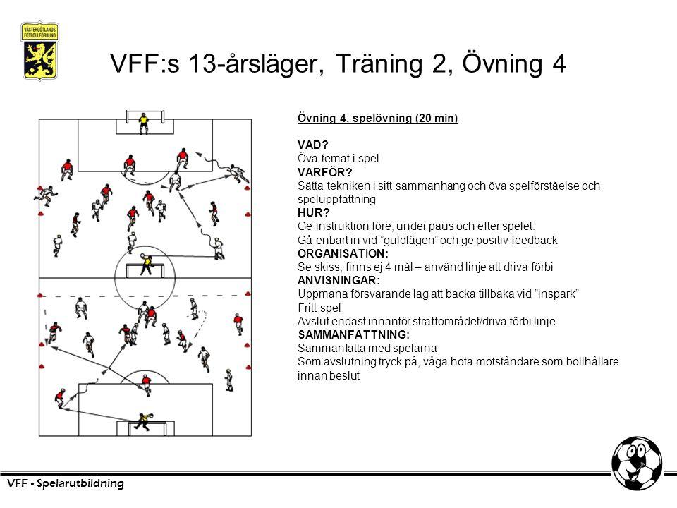 VFF:s 13-årsläger, Träning 2, Övning 4 Övning 4, spelövning (20 min) VAD? Öva temat i spel VARFÖR? Sätta tekniken i sitt sammanhang och öva spelförstå