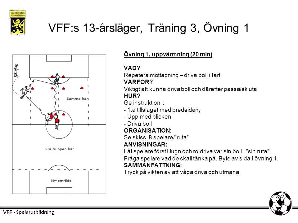 VFF:s 13-årsläger, Träning 3, Övning 1 Övning 1, uppvärmning (20 min) VAD? Repetera mottagning – driva boll i fart VARFÖR? Viktigt att kunna driva bol