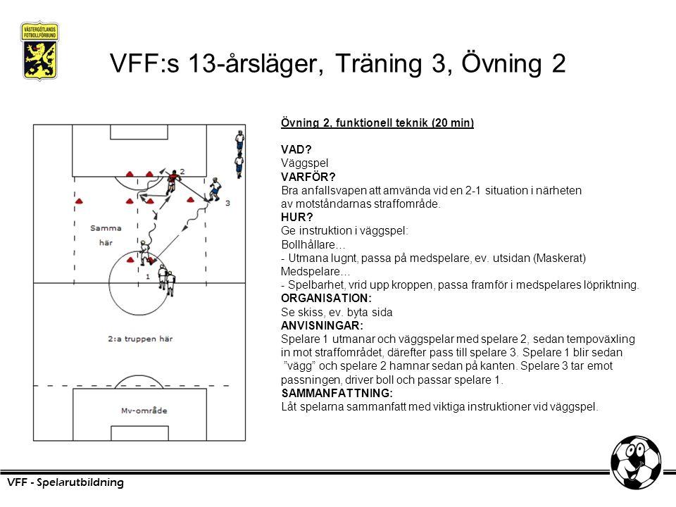 VFF:s 13-årsläger, Träning 3, Övning 2 Övning 2, funktionell teknik (20 min) VAD? Väggspel VARFÖR? Bra anfallsvapen att amvända vid en 2-1 situation i
