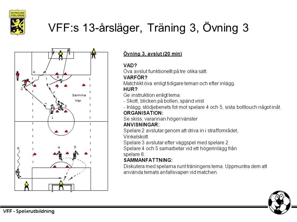 VFF:s 13-årsläger, Träning 3, Övning 3 Övning 3, avslut (20 min) VAD? Öva avslut funktionellt på tre olika sätt. VARFÖR? Matchlikt öva enligt tidigare