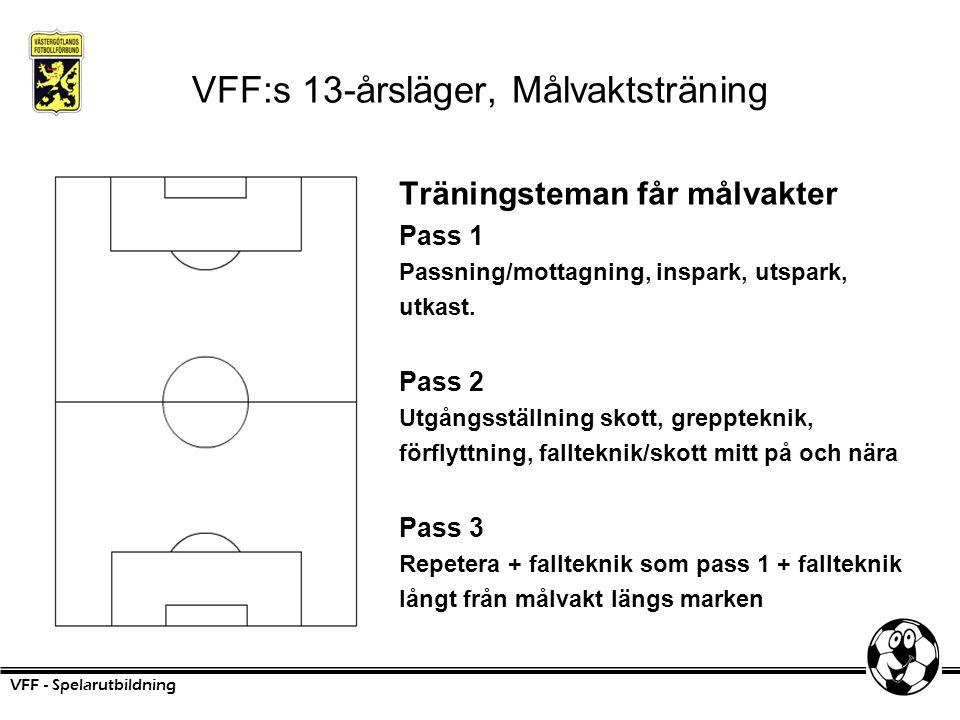 VFF:s 13-årsläger, Målvaktsträning Träningsteman får målvakter Pass 1 Passning/mottagning, inspark, utspark, utkast. Pass 2 Utgångsställning skott, gr