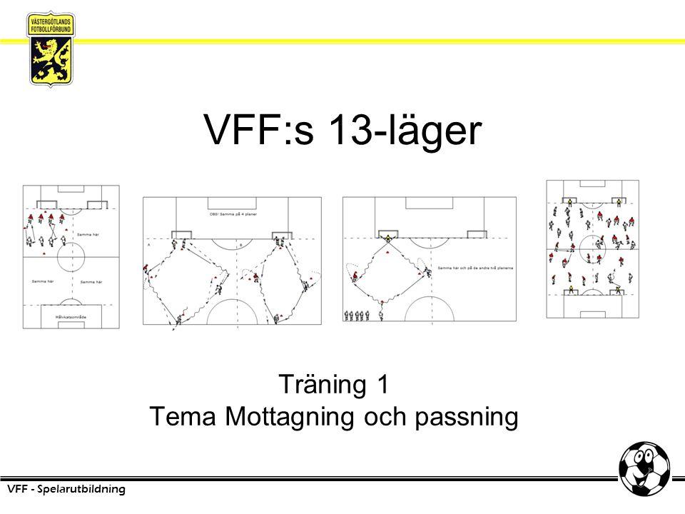 VFF:s 13-läger VFF - Spelarutbildning Träning 1 Tema Mottagning och passning