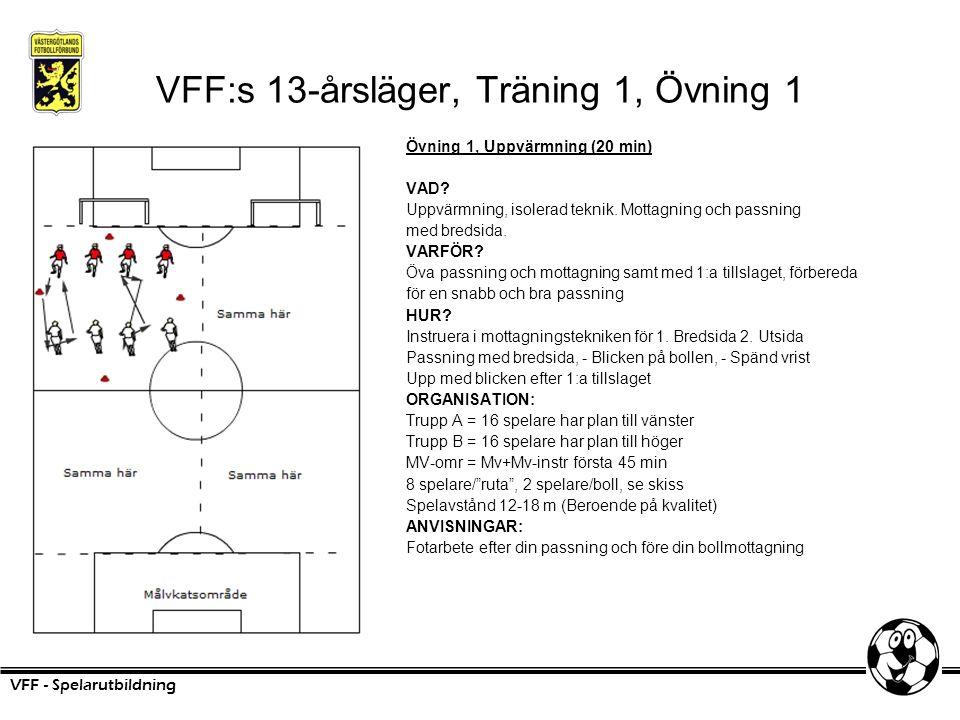 VFF:s 13-årsläger, Träning 1, Övning 1 Övning 1, Uppvärmning (20 min) VAD? Uppvärmning, isolerad teknik. Mottagning och passning med bredsida. VARFÖR?