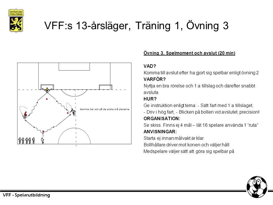 VFF:s 13-årsläger, Träning 1, Övning 3 Övning 3, Spelmoment och avslut (20 min) VAD? Komma till avslut efter ha gjort sig spelbar enligt övning 2 VARF