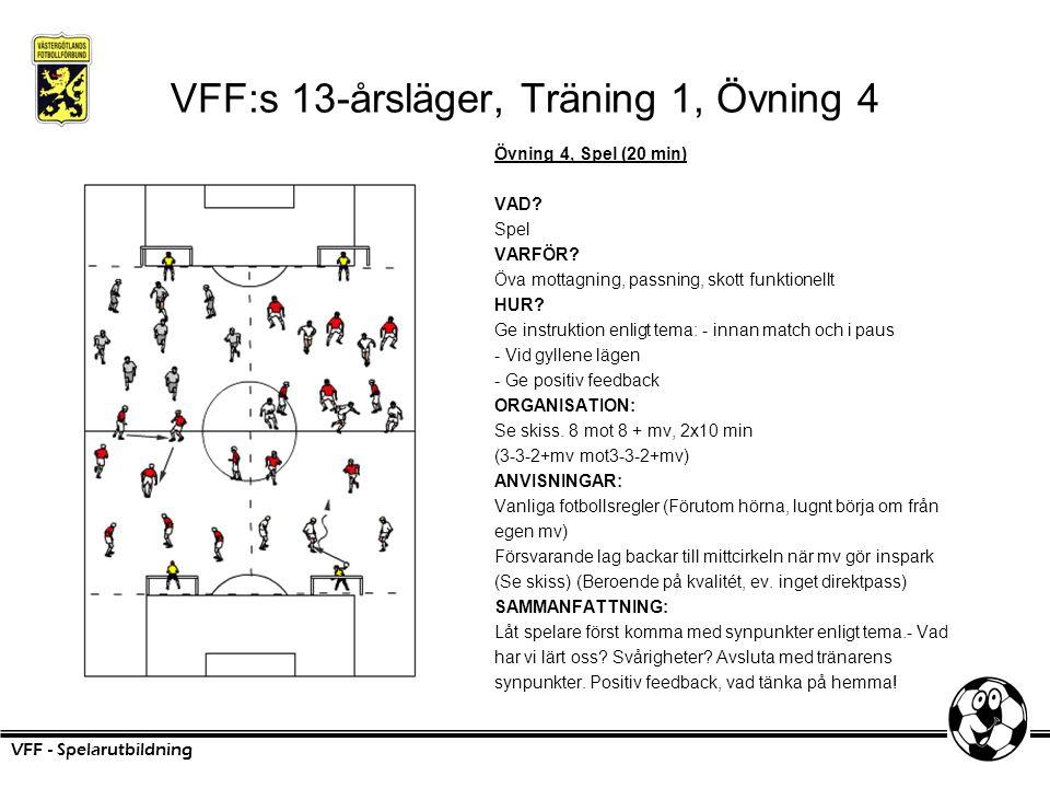 VFF:s 13-årsläger, Träning 1, Övning 4 Övning 4, Spel (20 min) VAD? Spel VARFÖR? Öva mottagning, passning, skott funktionellt HUR? Ge instruktion enli