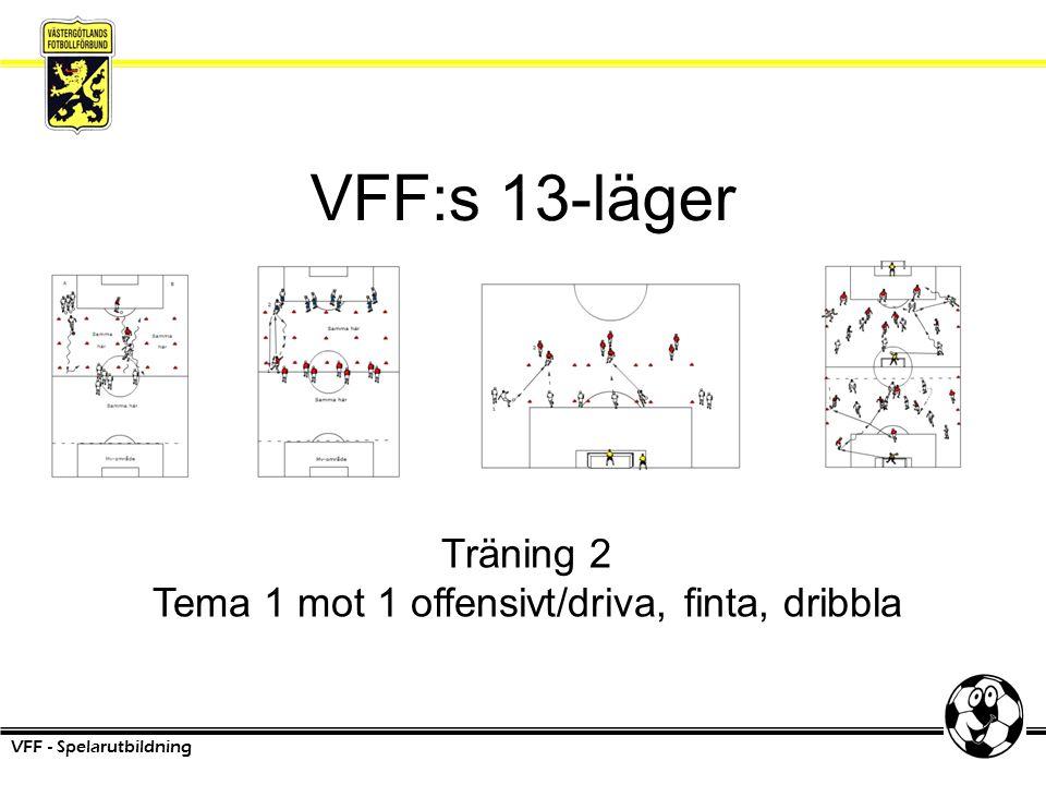 VFF:s 13-läger VFF - Spelarutbildning Träning 2 Tema 1 mot 1 offensivt/driva, finta, dribbla