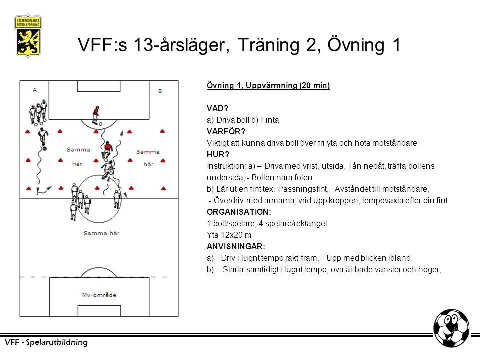 VFF:s 13-årsläger, Träning 2, Övning 1 Övning 1, Uppvärmning (20 min) VAD? a) Driva boll b) Finta VARFÖR? Viktigt att kunna driva boll över fri yta oc