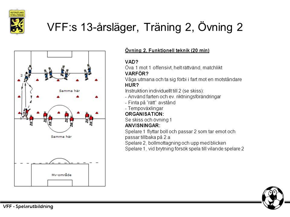 VFF:s 13-årsläger, Träning 2, Övning 2 Övning 2, Funktionell teknik (20 min) VAD? Öva 1 mot 1 offensivt, helt rättvänd, matchlikt VARFÖR? Våga utmana
