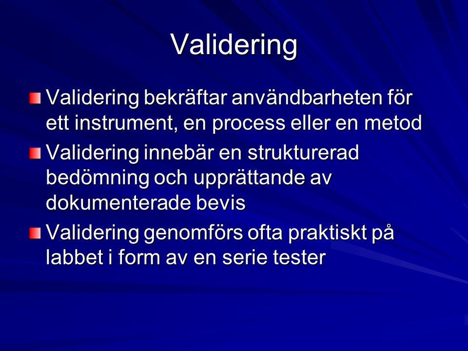Validering Validering bekräftar användbarheten för ett instrument, en process eller en metod Validering innebär en strukturerad bedömning och upprättande av dokumenterade bevis Validering genomförs ofta praktiskt på labbet i form av en serie tester