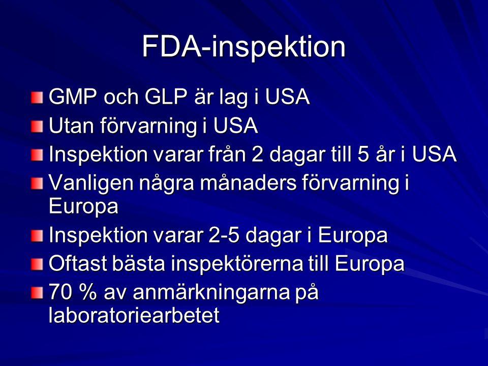 FDA-inspektion GMP och GLP är lag i USA Utan förvarning i USA Inspektion varar från 2 dagar till 5 år i USA Vanligen några månaders förvarning i Europa Inspektion varar 2-5 dagar i Europa Oftast bästa inspektörerna till Europa 70 % av anmärkningarna på laboratoriearbetet